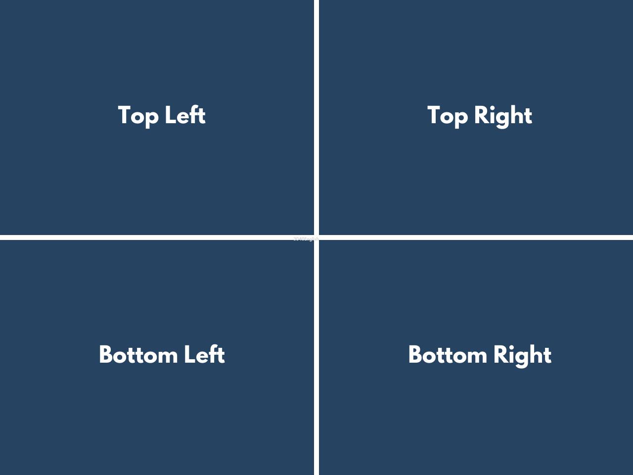 top, bottom を使う右上・左上・左下・右下の英語表現