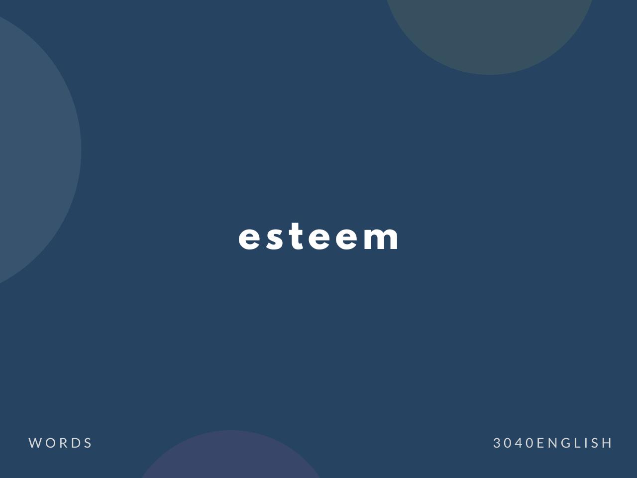 esteem の意味と簡単な使い方【音読用例文あり】