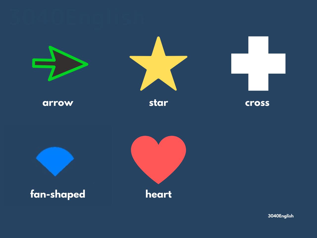 矢印・星形・十字型・おうぎ形・ハート形の英語表現