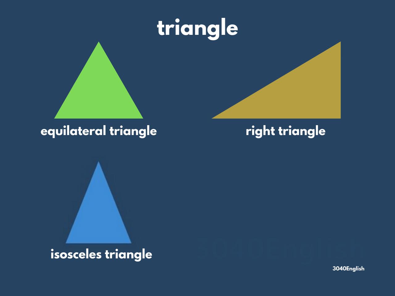 正三角形・直角三角形・二等辺三角形の英語表現